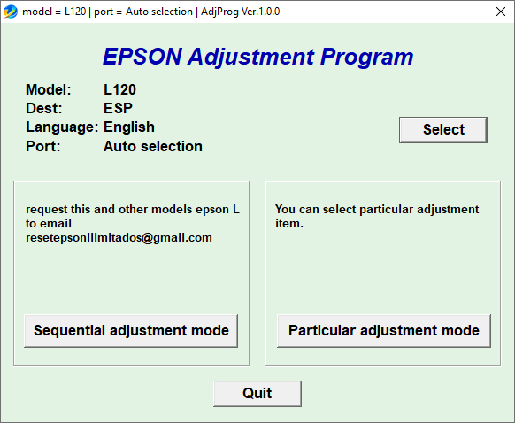 Epson L120 Resetter