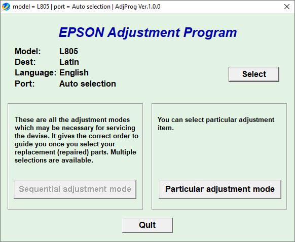 Epson L805 Resetter