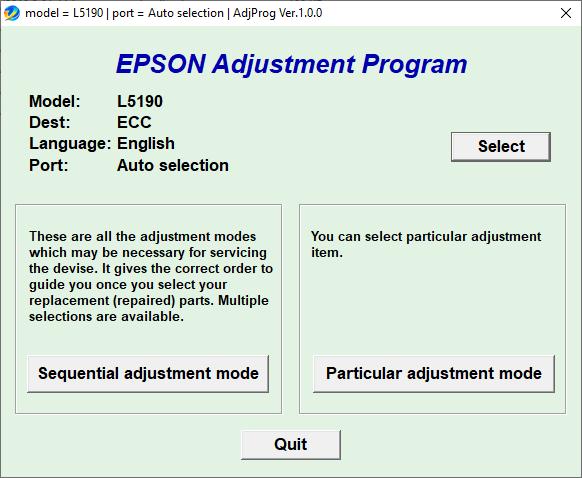 Epson L5190 resetter