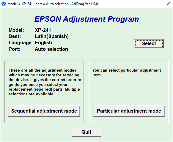 Epson XP241 Adjustment Program