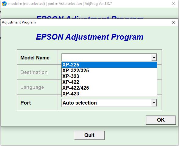 Epson XP-225 XP322 XP325 XP-323 XP-422 XP-425 XP-423