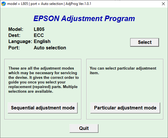 Epson L805 Adjustment Program free download