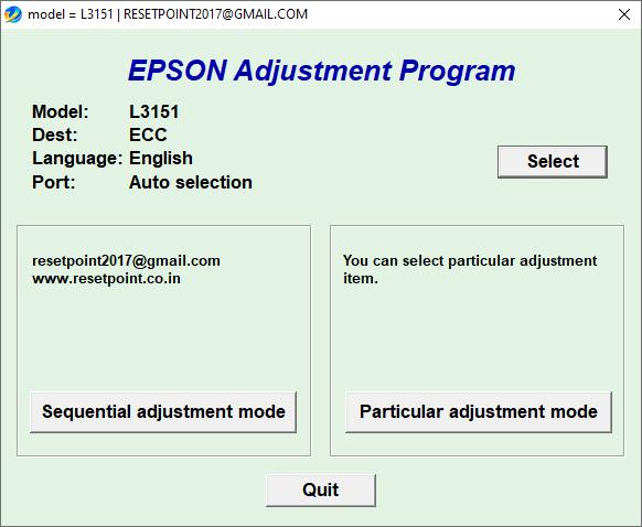 Epson L3151 resetter