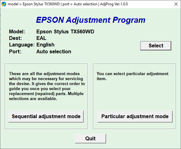 Epson TX560WD Adjustment Program