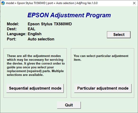 Epson TX560WD Adjustment Program