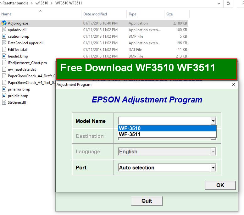 Epson WF3510 WF3511 resetter