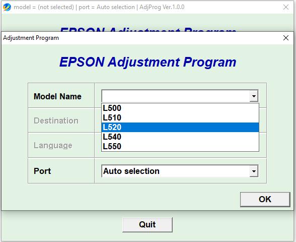 Epson L500 L510 L520 L540 L550 resetter