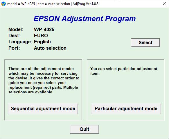 Epson WP4025 resetter