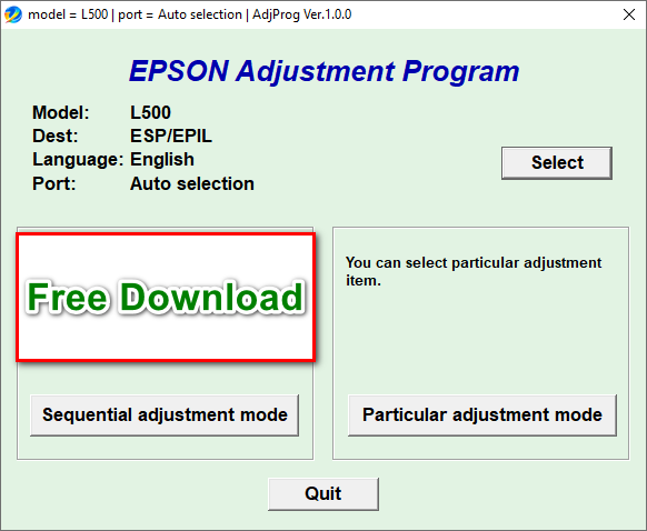 Epson L500 Resetter Tool Free Download